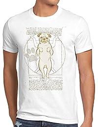 style3 Pug de Vitruvio Camiseta para Hombre T-Shirt Perro da Vinci