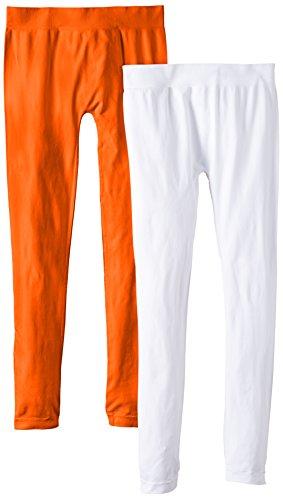 Luigi di Focenza Damen Matt Fein Legging 1673, 2er Pack, 100 DEN Orange (orange-weiß 297/099)