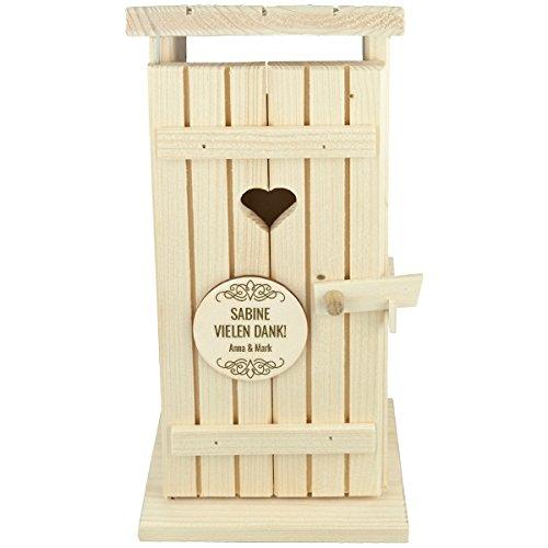 Flaschenbox Holzbox Geschenkbox Wein Flasche Toiletenhäuschen groß Truhe Verpackung Deko Fichte Natur Geschenk Jubiläum Geburtstag mit individueller Gravur 145 x 300 x 160 mm