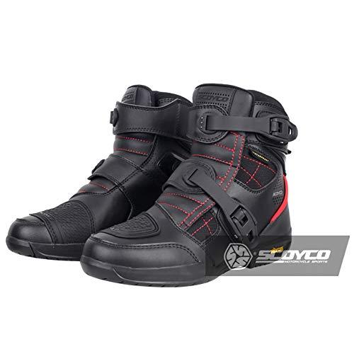 Stivali da Equitazione per Moto di Gomma Indossare Scarpe da Moto Impermeabile Traspirante Autunno E Inverno Stivali da Moto da Strada,Black-UK7.5/EUP42
