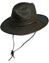 3692c3d5b2654 Dorfman Pacific Men's 1 Piece Cotton Weathered Finish Leather Band Binding  Hat with Chin Cord