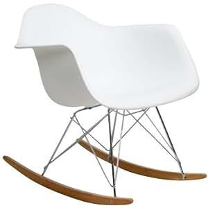 White Charles Eames Retro Rocking Lounge Chair FMP251283 by Fulmens