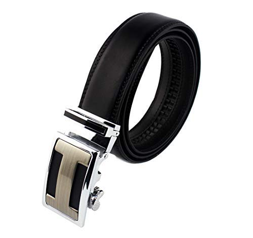 Men's Leather Belt Leather Belts with Automatic Buckle 6x4cm for Men, Width 35mm (Shiny Black, 130 (113cm / 44.49 '))