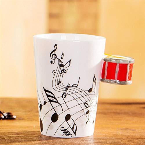 Teetasse Note Cup/Keramik E-Gitarrenbecher Milk Cup Musikinstrument Note Cup Red Bongo Free_300Ml