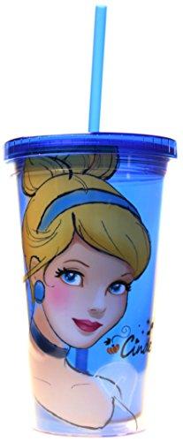 Disney Argent Buffalo Dp16087 Cendrillon Plastique sans BPA Froid Tasse avec Couvercle et Paille, 16 G, Bleu