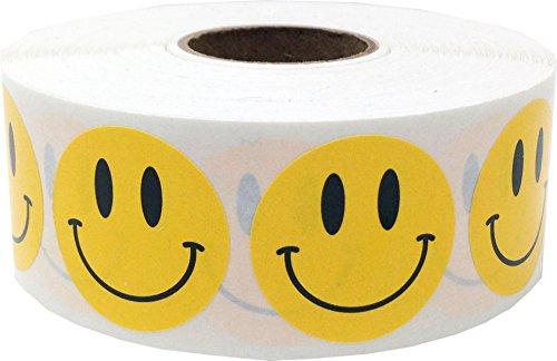 Amarillo Smiley Cara Circulo Punto Pegatinas, 25 mm 1 Pulgada Redondo, 500 Etiquetas en un Rollo