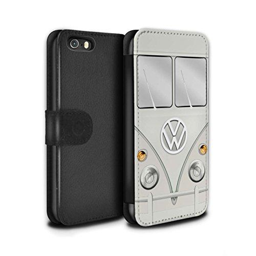 Stuff4 Coque/Etui/Housse Cuir PU Case/Cover pour Apple iPhone 7 Plus / Titan Rouge Design / Rétro T1 Bus Campeur Collection Perle Blanche