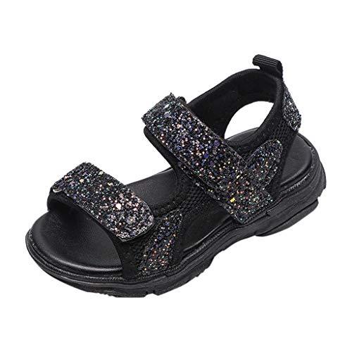 Sommer Kinder Sport Sandalen unisex niedlichen Pailletten weichen Boden rutschfeste einfarbige Grundmodelle Sandalen(Schwarz, 24)