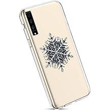 YSIMEE Fundas Samsung Galaxy A7 2018/A750 Carcasas,Xmas Decoración Fundas Transparente Silicona Suave Ultra Fina Delgado Gel Bumper TPU Goma Protectora Carcasas-Copo de nieve negro
