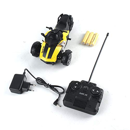 CHOULI 1/14 Infrared Remote Control High-Speed Racing 3 Wheeled Motorcycle Tricycle Yellow