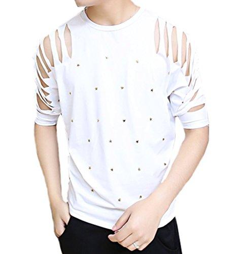 Ouye Herren Half Sleeve zerrissene L?ssiges T-Shirt Weiß