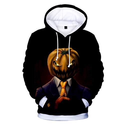 MOIKA Halloween Deko Unisex Kinder Jungen Mädchen Unheimlich Graphic Hoodies Coole 3D Kürbiskopf Drucken Langarm Pullover Hooded für XXS-4XL