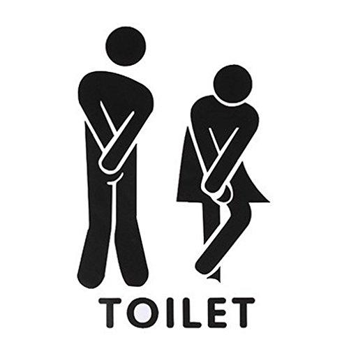 Amybria lustig Toilette Eingang Türaufkleber DIY Toilette Badezimmer Aufkleber Selbstklebende Wandtattoo Wasserdichte Tapete PVC Wandaufkleber Demontierbare Wandsticker für Geschäft Büro Haus Café Hotel Mit Wörter Drucken