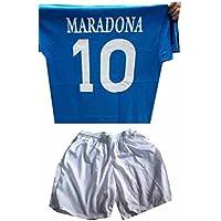 4b0e6f9babd12 Completino C2 Pantoloncini Bianchi E t-Shirt Maglia Cotone Azzurra Stampata  buitoni ricordo Napoli Maradona