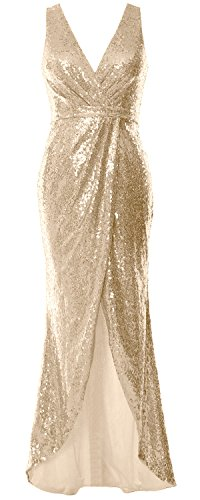 MACloth V Neck Sequin Hi Lo Bridesmaid Dress Simple Long Prom Dress Formal Gown Champagne