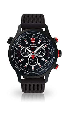 DETOMASO AURINO Herren-Armbanduhr Chronograph Analog Quarz Silikon Armband schwarzes Zifferblatt - Jetzt mit 5 Jahre Herstellergarantie (Silikon - Schwarz)
