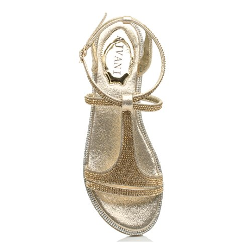 Femmes plat courroie de cheville strappy t-bar soir diamante sandale taille Or