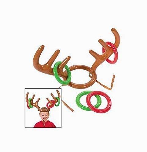 Xiton 2PCS aufblasbares Rentier Geweih Hut mit Weihnachtsfeier Ringe Werfen Spiel Familie Kinder Büro Xmas Fun Games