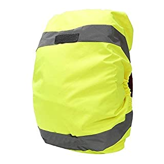 High Vis Waterproof Backpack Rucksack Cover Bag Rain Cover with Reflective Strip for Cycling, Running, Hiking (20-40L, Yellow)
