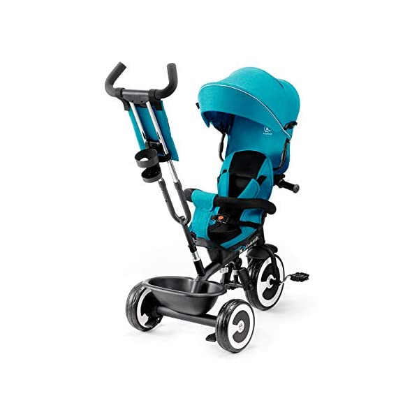 Kinderkraft Aveo KKRASTOTRQ0000 Tricycle with Accessories in 3 Colours Blue kk KinderKraft Five point safety straps for the shoulders and an additional strap between the legs to protect the child from falling out A mechanism that connects the parent handlebar with the child's handlebar so that parents can have full control over the bike guidance when required. Free-wheel that causes the child to rmble freely regardless of the person who leads the bike 3
