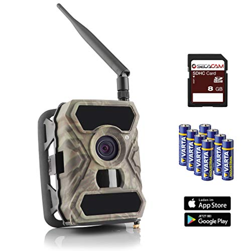 SECACAM HomeVista Mobile - 3G Wildkamera mit SIM-Karte sendefähig (GPRS, GSM, UMTS / 3G) mit Handy-Übertragung & App (Weitwinkel 100°)