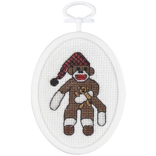 Unbekannt peejay Sock Monkey Mini Kreuzstich je 57–1/10,2cm X2–3/10,2cm Oval 18Count (Monkey Peejay Sock)