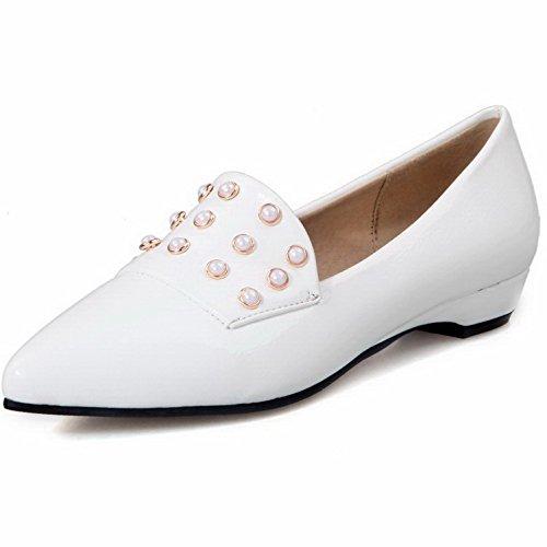 VogueZone009 Femme Pointu Tire Pu Cuir Mosaïque à Talon Bas Chaussures Légeres Blanc