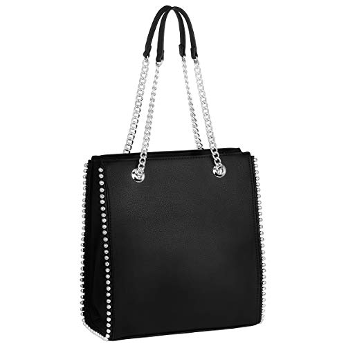 CRAZYCHIC - Borsa a Mano Borchie Rivetti Donna - Borsa Spalla Catena - Shopper Tote Stud Sacchetto PU Pelle - Shopping Bag Medium Capacità - Elegante Moda Tendenza Bella - Nero