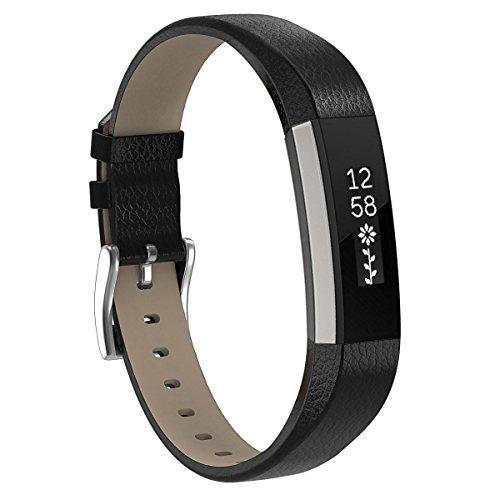 Für Fitbit Alta HR und Fitbit Alta Leder Armband,SnowCinda Verstellbares Ersatzarmband Wristband Unisex Gurt Fitness Zubehörteil mit Metallschließe Black