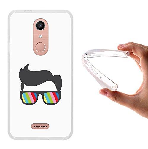 WoowCase Wiko U Pulse Lite Hülle, Handyhülle Silikon für [ Wiko U Pulse Lite ] Sonnenbrille und Nerd Stil Handytasche Handy Cover Case Schutzhülle Flexible TPU - Transparent