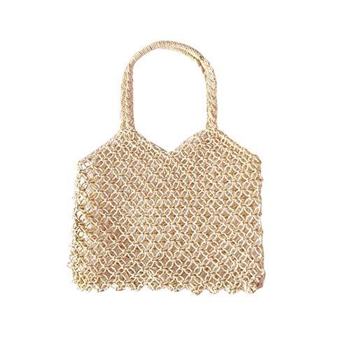 Hulday Handtaschen Damen Bambus Handtasche Böhmischen Strand Handtasche Halbmond Tasche Stroh Einfacher Stil Reise Sling Bag Schulter Umhängetasche Für Frauen -
