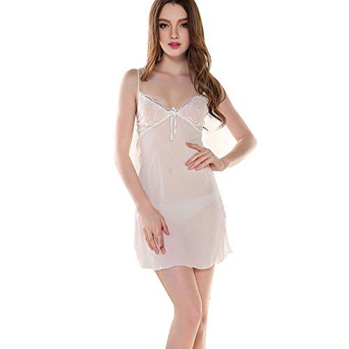 Glield Femmes chemise de nuit 2 Pieces Set Super-fin dentelle Lingerie Robe pyjama SY03 white