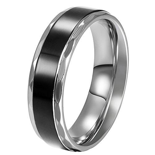 JewelryWe Schmuck Edelstahl Herren-Ring Schwarz Retro Liebe Trauringe Herren Ring für Engagement Versprechen Ewigkeit 6mm Breite Größe 52 bis 76