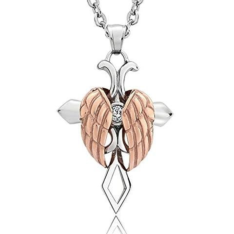 Acier inoxydable CZ Croix Ailes d'ange Argenté Doré Unisexe Pendentif pour collier chaîne 58,4cm–Bijoux Aooaz