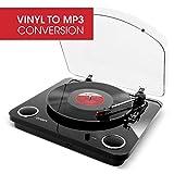 ION Audio Max LP - Platine Vinyle de Conversion avec Trois Vitesses et Enceintes Stéréo, Sortie USB, Sorties RCA - Finition Noir Brillant