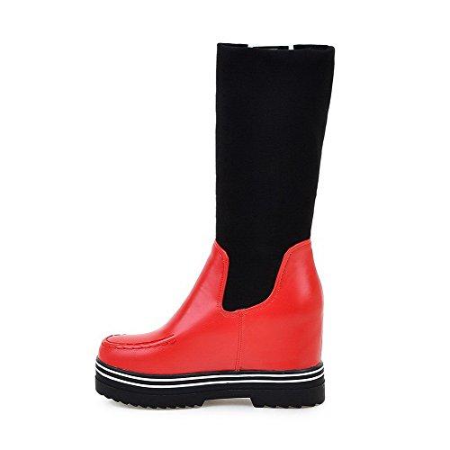 AgooLar Damen Blend-Materialien Mitte-Spitze Gemischte Farbe Ziehen auf Hoher Absatz Stiefel, Grau, 37