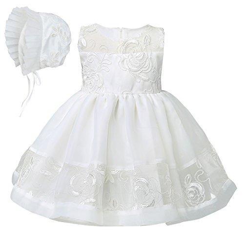 Freebily Neugeborenes Baby Mdchen Organza Taufe Kleid Kleidchen Festzug Partykleid bestickt Tutu Kleid + Haube 3 bis 24 Monate, Elfenbein, 92 (Kleid Taufe Bestickt)