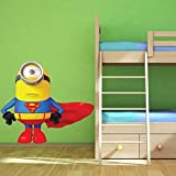 Wall Smart Designs Superman Minion Despicable Me Full Farbe Art Wand Aufkleber Aufkleber Wandbild Kinder Superhero Transfer Graphic Print