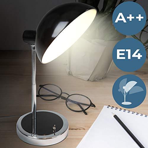 Schreibtischlampe | EEK: A++ | mit Flexiblem Lampenhals und 1,5 Meter Stromkabel, Klassisches Design, Schwarz | Tischleuchte, Leselampe, Tischlampe, Büroleuchte