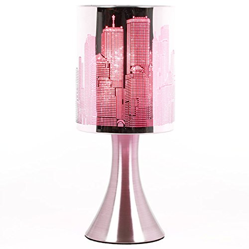 Lampe New York Tactile sans interrupteur - 3 intensités lumineuses - Rose