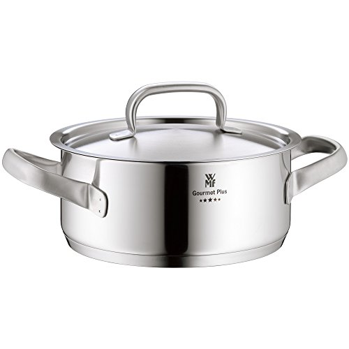 WMF cookware Ø 24 cm approx. 4,1l Gourmet Plus Inside scaling  vapor hole Made in Germany hollow side handles metal lid Cromargan stainless steel  suitable for all stove tops including induction dishwasher-safe