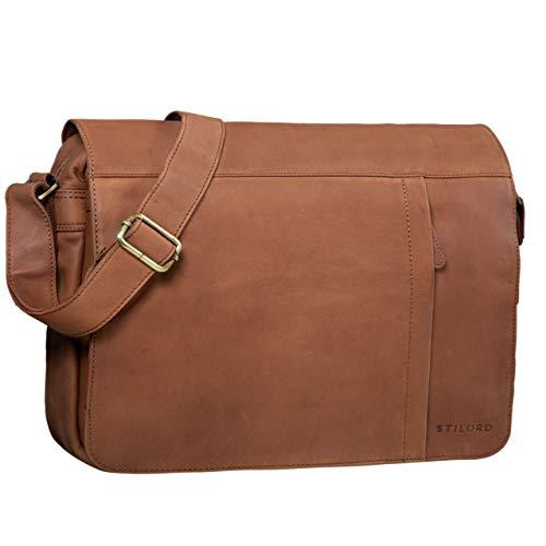 STILORD 'Jeremy' Umhängetasche Messenger Bag Herren Leder Vintage Schultertasche Laptop Tasche für 13,3 Zoll MacBook Große Arbeitstasche Echtleder, Farbe:Sattel - braun -