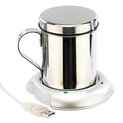 Monsterzeug USB Tassenwärmer mit Edelstahl Tasse, USB Kaffeewärmer, Heizplatte USB-betrieben, Tassenwärmer elektrisch, Isolierbecher Heizung
