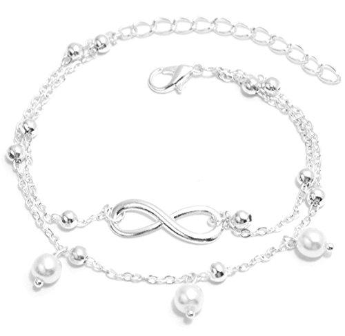 2LIVEfor Armkettchen Silber und Gold Armband Unendlich Infinity Armkette Damen Unendlichkeit Anhänger Schleife Armkette Unendlichkeitszeichen Perlen (Silber weiß Perlen) Cartier Liebe Armband Weiß Mit Gold
