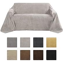Beautissu Manta Romantica 210x280 cm en óptica de piel de ante como cobertor de sofá manta de día Plaid en gris claro