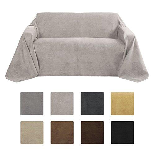 Beautissu Romantica Couverture - Plaid - 210x280cm - Couvre-lit ou sofa jeté de canapé effet velours - Gris clair