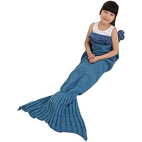Uncinetto Maglia Sirena coda coperta sacco a pelo Handcraft per bambini tutte le stagioni sacco a pelo coperta Lake Blue