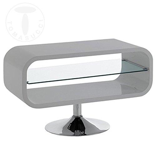 Table porte TV Vega Grey 80 cm laqué gris brillant