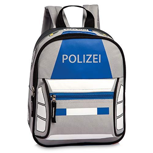 Kinderrucksack Kindergartentasche Kindergartenrucksack Lizenz Rucksäcke Motiv Polizei Auto oder Feuerwehr-Auto wählbar - für Jungen und Mädchen im Kindergarten oder Kita (Polizeiauto)