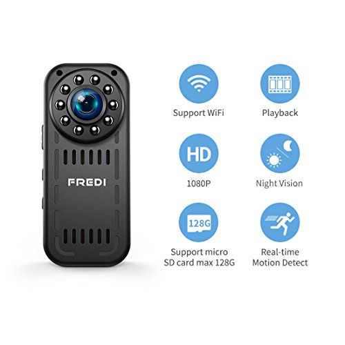 Camera Espion, 1080P HD Caméra de Surveillance Mini Camera WiFi sans Fil Infrarouge de Vision Nocturne Détection de Mouvement Support Maximum Carte de 128G(Pas Incluse)
